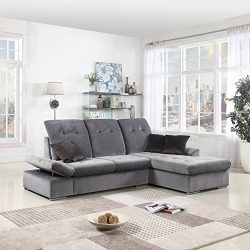 Classic Large Brush Microfiber L-Shape Sectional Sofa Couch with Chaise Lounge and Adjustable He ...