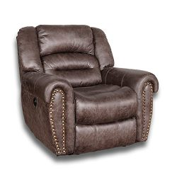 BONZY Power Recliner Chair Worned Leather Look Micro Fiber Oversized Electric Recliner Chair &#8 ...