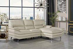 Divano Roma Furniture Living Room Leather Sectional Sofa, L-Shape Couch with Chaise Lounge (Beige)