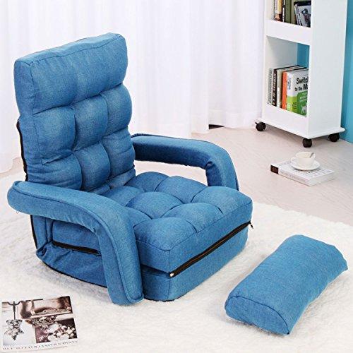 Jaxpety Blue Fabric Folding Chaise Lounge Sofa Chair