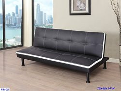 Beverly Furniture F3102 Convertible Futon Sofa Sleeper Bed, Brown