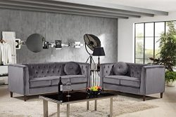 Container Furniture Direct S5374-2PC Kitts Sofa Set, Gray