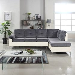 Divano Roma Furniture Modern 2 Tone Tufted Brush Microfiber/Faux Leather Sectional Sofa, Large L ...