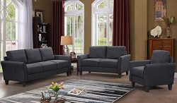 Harper&Bright Designs 3 Piece Sofa Loveseat Chair Sectional Sofa Set Living Room Furniture L ...