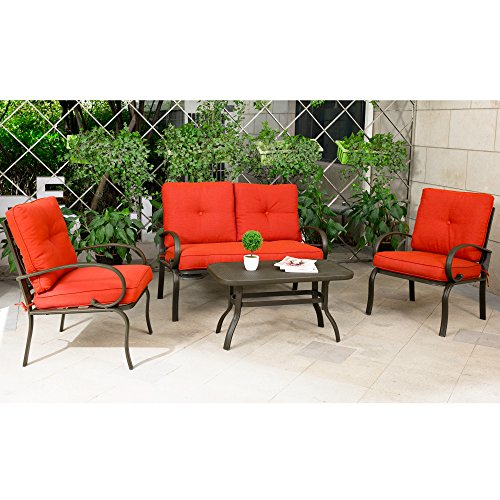 Cloud Mountain 4 Piece Patio Furniture Set Outdoor Conversation Set  Cushioned Sofa Set Garden Lo .