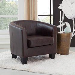 Grafton 1572-01-L03 Joseph Faux Leather Barrel Chair, One Size, Coffee