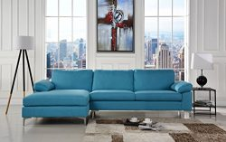 Modern Large Linen Fabric Sectional Sofa, L-Shape Couch with Extra Wide Chaise Lounge (Blue)