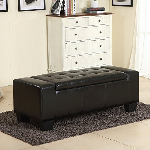 Belleze 51 Quot Inch Storage Ottoman Bench Black Faux Leather