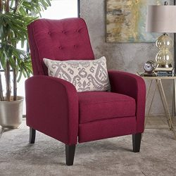Nissa Tufted Deep Red Fabric Recliner