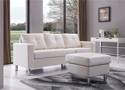 NHI Express 73030-40WH Braxton Small Space Convertible Sectional Sofa, White
