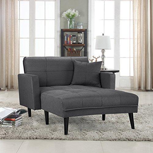 Divano Roma Furniture Modern Linen Fabric Recliner Futon