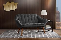 Couch for Living Room, Tufted Linen Fabric Love Seat (Dark Grey)