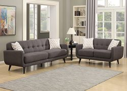 AC Pacific Crystal Collection Upholstered Charcoal Mid-Century 2-Piece Living Room Set with Tuft ...