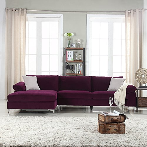 Divano Roma Furniture Modern Large Velvet Fabric Sectional Sofa, L-Shape Couch with Extra Wide C ...