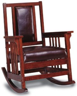 Coaster Mission Style Rocking Wood and Leather Chair Rocker, Brown