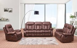 Betsy Furniture 3-PC Microfiber Fabric Recliner Set Living Room Set in Brown, Sofa Loveseat Chai ...