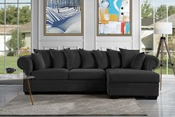 Modern Large Fabric Sectional Sofa, L-Shape Couch with Extra Wide Chaise Lounge (Dark Grey)