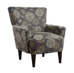 Emerald Home Flower Power Cascade Pewter Accent Chair with Flared Arms And Welt Trim