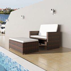 K Top Deal Outdoor Patio Rattan Wicker Sofa Bed Loveseat Sleeper Set, Brown