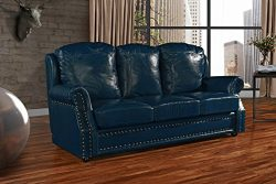 Leather Match Sofa 3 Seater, Living Room Couch with Nailhead Trim (Blue)