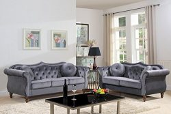 Container Furniture Direct S5366-2PC Carbon Living Room Sofa Set, Grey