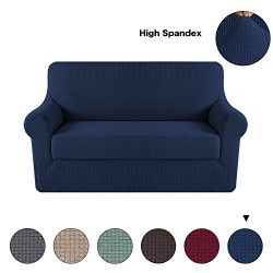 Turquoize 2-Pieces Spandex Stretch Slipcover for Loveseat Sofa Covers Anti-Slip Couch Slipcover  ...