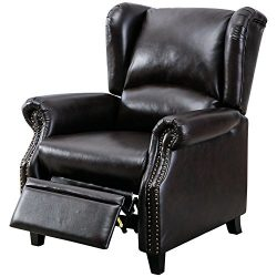 BONZY Traditional Wingback Pushback Recliner Chair Solid Wood Legs Manual Recliners – Dark ...