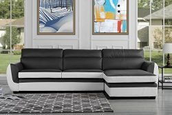 Modern Bonded Leather Sectional Sofa, Large Living Room L Shape Couch (Dark Grey/White)