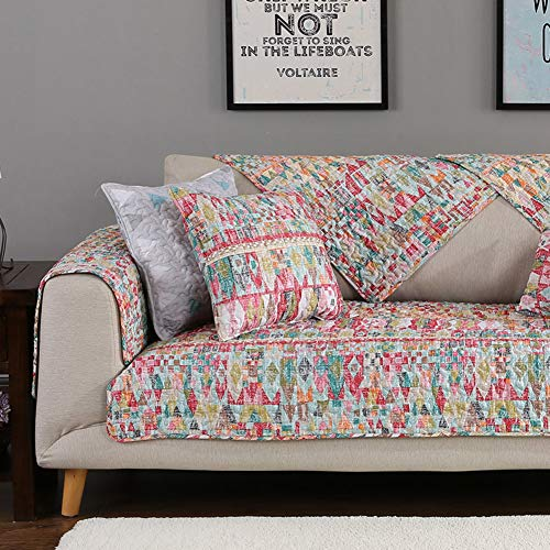 HM&DX Cotton Sofa Cover Protector,Quilted Anti-slip Exotic Geometric Patterns Multi-size Cou ...