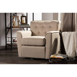 Wholesale Interiors Canberra Retro Fabric Upholstered Button-Tufted Swivel Glider Lounge Chair w ...