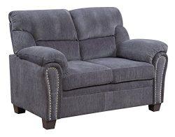 Furniture World Jefferson Love Seat, Gray Chenille Fabric