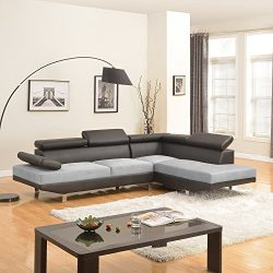 Modern Contemporary Designed Two Tone Microfiber and Bonded Leather Sectional Sofa (White/Grey)  ...