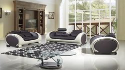 American Eagle Furniture Baltimore Collection Ultra Modern Bonded Leather Living Room 3 Piece So ...