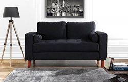 Couch for Living Room, Tufted Velvet Fabric Sofa with Back Cushions, Tufted Bottom and 2 extra c ...