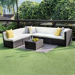 Wisteria Lane Outdoor Conversation Set Patio Furniture, 7PCS Outdoor Gray Wicker Sofa Set Sectio ...