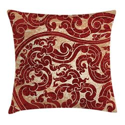 Ambesonne Antique Throw Pillow Cushion Cover, Thai Culture Vector Abstract Background Flower Pat ...