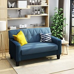 Melantha Button Stitch Two Toned Navy Blue Fabric Loveseat with Blue Fabric Cushions