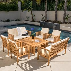Beckley 8-pc Outdoor Wood Sofa Seating Set