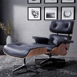 Mecor Lounge Chair with Ottoman, Mid Century Palisander Chair, 100% Grain Italian Leather Living ...