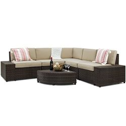 Best Choice Products 6-Piece Patio Wicker Sectional Sofa Furniture Set w/ 5 Seats, Coffee Table, ...