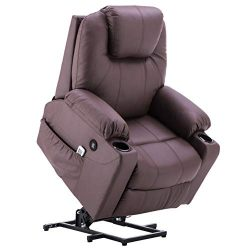 Electric Power Lift Chair Massage Vibrating Sofa Recliner Heated Lounge w/Remote Control Dual US ...