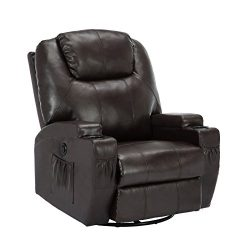 SUNCOO Electric Massage Recliner Chair Bonded Leather Ergonomic Lounge Heated Sofa with Cup Hold ...