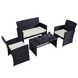 Goplus 4 PC Rattan Patio Furniture Set Garden Lawn Pool Backyard Outdoor Sofa Wicker Conversatio ...