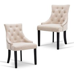New retail global Tufted Dining Chairs Accent Chair Dining Room Set of 2 Fabric Upholstered Leis ...