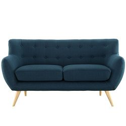 Modway Remark Mid-Century Modern Loveseat With Upholstered Fabric In Azure