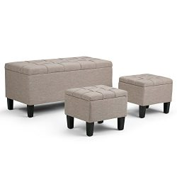 Simpli Home Dover 3 Piece Rectangular Storage Ottoman Bench, Natural