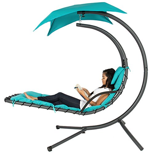 Best Choice Products Outdoor Porch Hanging Curved Chaise Lounge Chair Swing Hammock w/Pillow, St ...