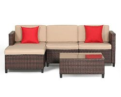 Suncrown Outdoor Furniture Sectional Sofa (5-Piece Set) All-Weather Brown Checkered Wicker with  ...