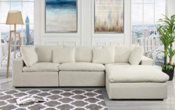 Classic Large Linen Fabric Sectional Sofa, L Shape Couch with Wide Chaise (Off White)