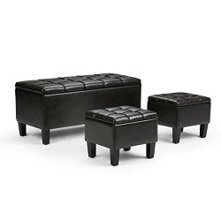 Simpli Home Dover 3-Piece PU Leather Rectangular Storage Ottomans, Tanners Brown